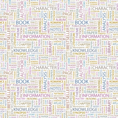 bookseller: BOOK. Seamless pattern with word cloud. Illustration with different association terms.