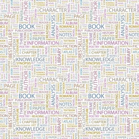 diccionarios: LIBRO. Patr�n transparente con nubes de palabra. Ilustraci�n con t�rminos de asociaci�n diferente.   Vectores
