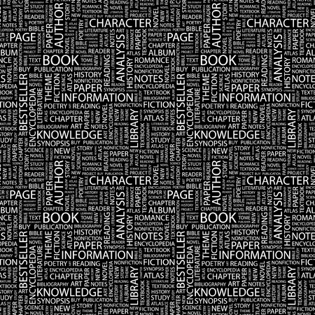 BOOK. Seamless vector pattern with word cloud. Illustration with different association terms.   Vector