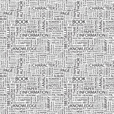 synopsis: BOOK. Seamless vector pattern with word cloud. Illustration with different association terms.   Illustration