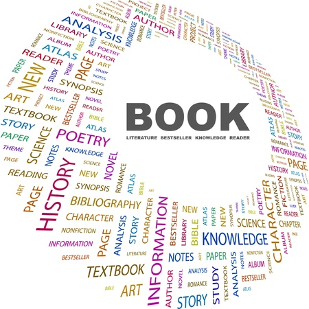 synopsis: BOOK. Word collage on white background. Vector illustration. Illustration with different association terms.    Illustration