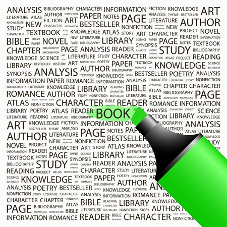 monograph: BOOK. Highlighter over background with different association terms. Vector illustration.