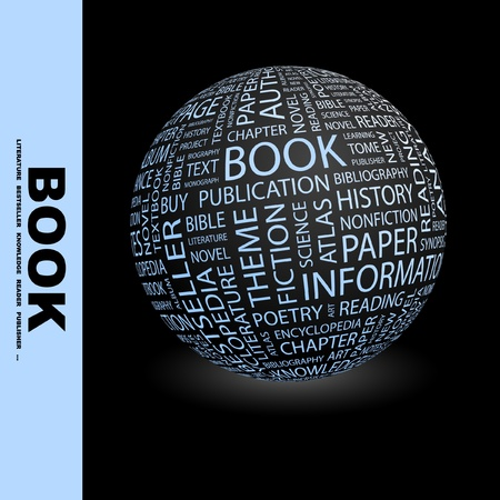 monograph: BOOK. Globe with different association terms. Wordcloud vector illustration.   Illustration