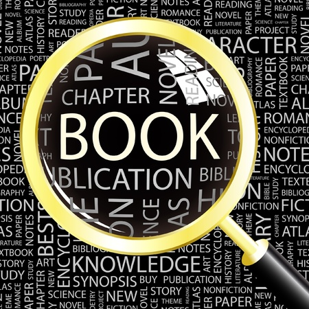 reviews: BOOK. Magnifying glass over background with different association terms. Vector illustration.