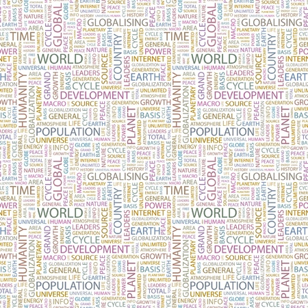 WORLD. Seamless vector background. Wordcloud illustration. Illustration with different association terms.   Vector