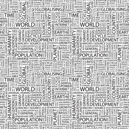 WORLD. Seamless vector pattern with word cloud. Illustration with different association terms.   Vector