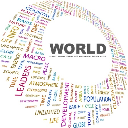 WORLD. Word collage on white background. Illustration with different association terms. Stock Vector - 8820324