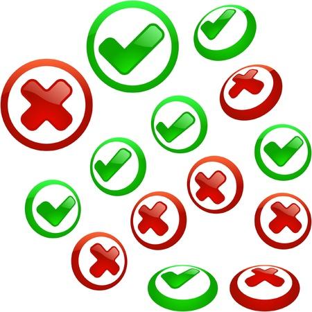 preferencia: Conjunto de iconos aprobados y rechazados. Vectores