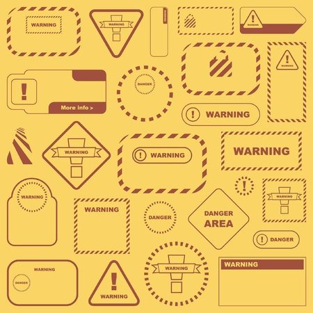 Warning vector signs. Vector template.    Stock Vector - 8890702