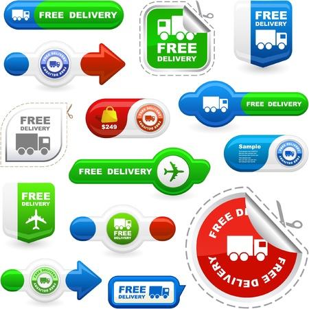 multi media: Elementi di consegna gratuita per la vendita   Vettoriali