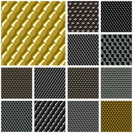 perforated sheet: Seamless metal plate. Vector great collection. Illustration