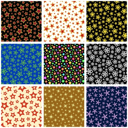 Seamless background with different stars.   Vector