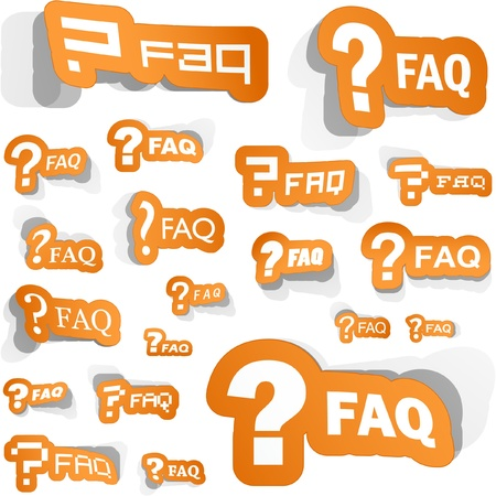 questionably: FAQ. Sticker collection. Illustration