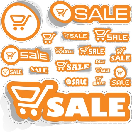 Shopping cart. Vector sticker set. Vector