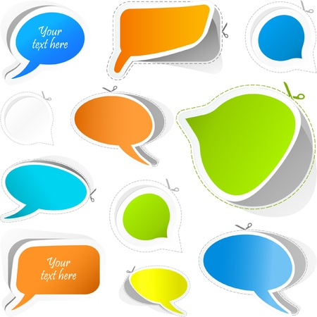 comments: Vector speech bubble. Sticker set.