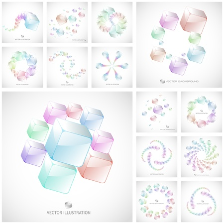 Abstract background with transparent boxes Stock Vector - 9024778