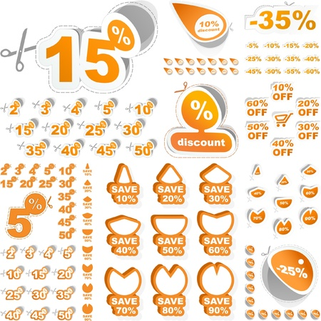 Discount sticker templates with different percentages Stock Vector - 8890799
