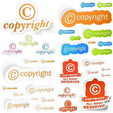 copyright: Vector copyright sticker set for sale.   Illustration