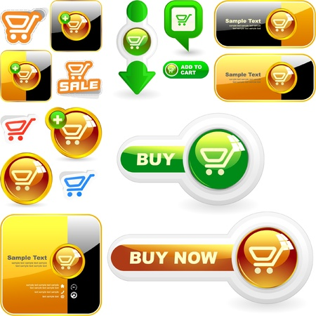 add button: Shopping cart. Vector button set.