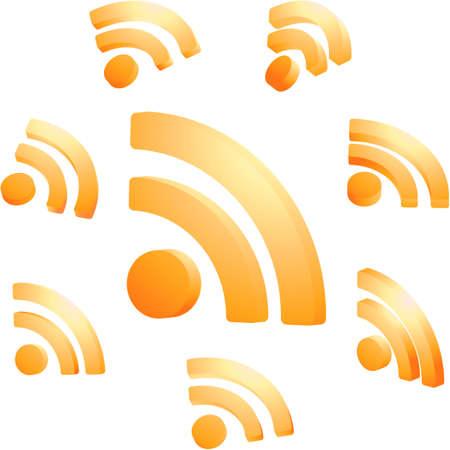 blogged: RSS glossy icon set. Illustration