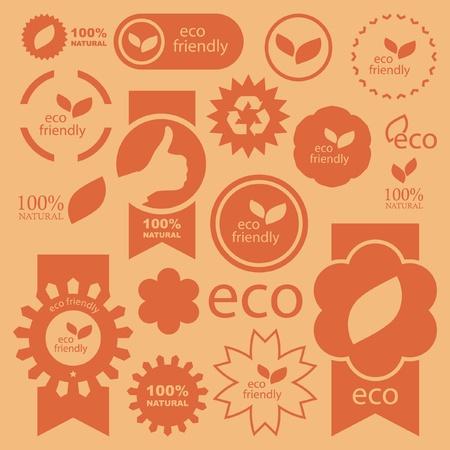 etiquetas redondas: Conjunto de signos de eco amigable, natural y ecol�gica.