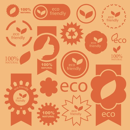 Set of eco friendly, natural and organic signs. Illustration