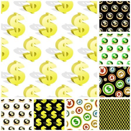 Dollar. Seamless pattern. Vector