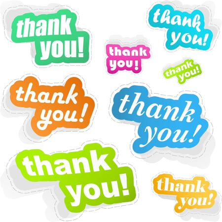 many thanks: THANK YOU. Sticker collection Illustration