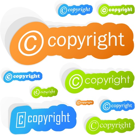 Vector copyright sticker set for sale.   Stock Vector - 8890719