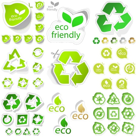 eco friendly: Set of eco friendly, natural and organic stickers.
