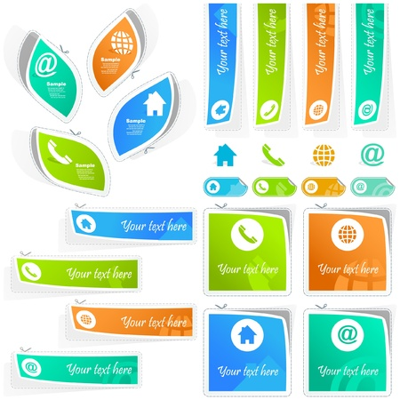 Home, phone, internet and email. Stciker set for design. Vector