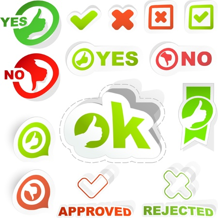 Approved and rejected sticker set. Stock Vector - 8890706
