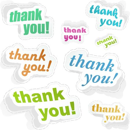 THANK YOU. Sticker collection.  Vector