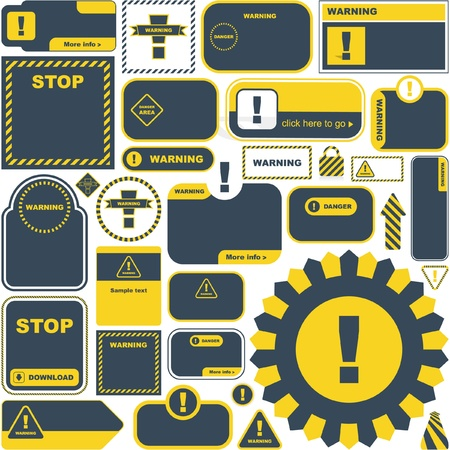 electrical safety: Warning vector signs. Vector template.    Illustration
