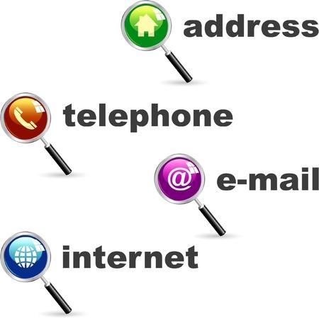 mobil: Contact icon set. Vector illustratie.