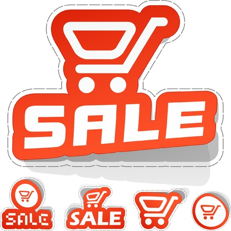 shopping carriage: SALE. Sticker set.