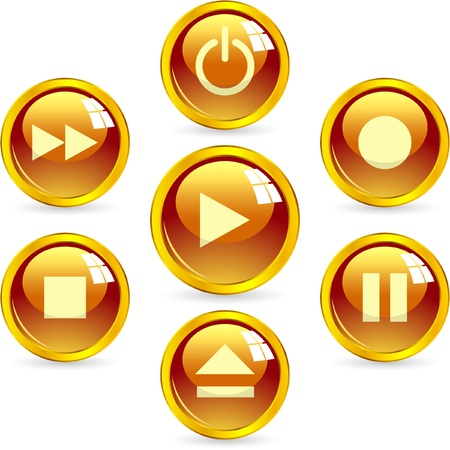 Multimedia button set. Vector