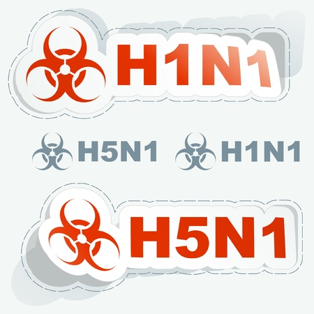 pandemic: H1N1. H5N1. Warning sticker collection. Illustration