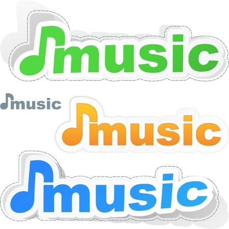 melomaniac: MUSIC. Sticker set for design. Illustration