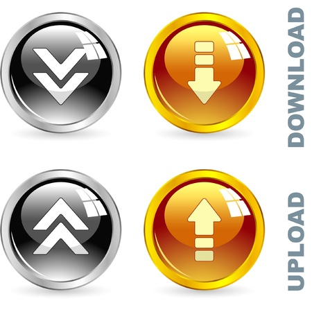 Download and upload button set. Vector