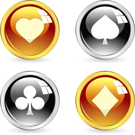 risks button: Card suits. Vector set.