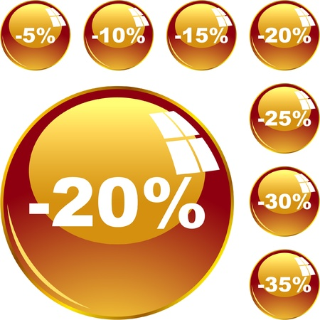 Discount button templates with different percentages Stock Vector - 8890936
