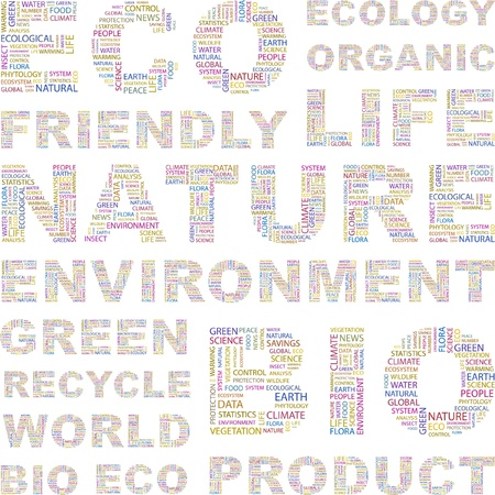 ECO. Word collage on white background. Vector illustration. Illustration with different association terms.    Vector
