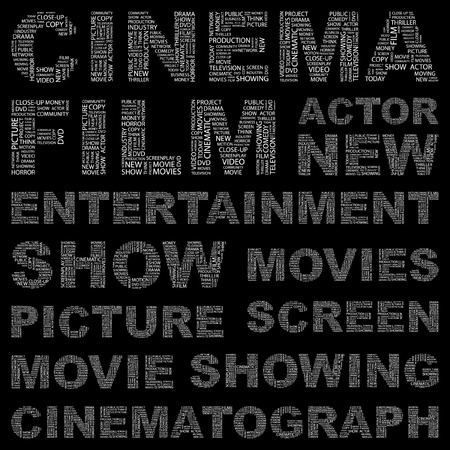 cinematograph: CINE. Collage de palabra sobre fondo negro. Ilustraci�n vectorial. Ilustraci�n con t�rminos de asociaci�n diferente.