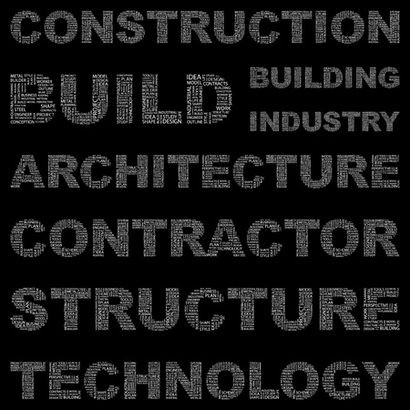 architectural team: CONSTRUCTION. Word collage on black background. Vector illustration. Illustration with different association terms.