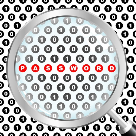 PASSWORD. Magnifying glass over background with number signs. Vector illustration. Stock Vector - 8891237