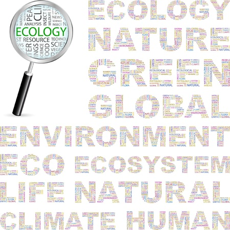 ECOLOGY. Word collage on white background. Vector illustration. Illustration with different association terms.    Vector
