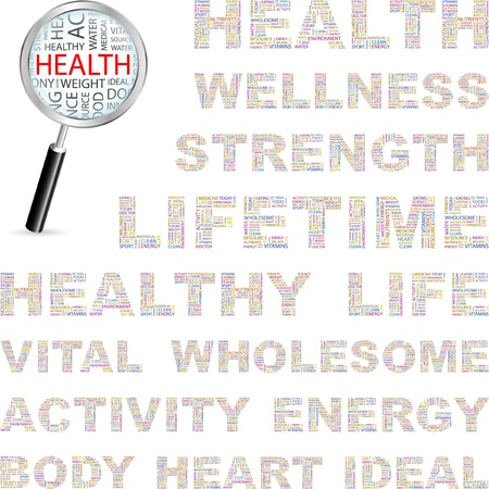nutrition doctor: HEALTH. Word collage on white background. Vector illustration. Illustration with different association terms.