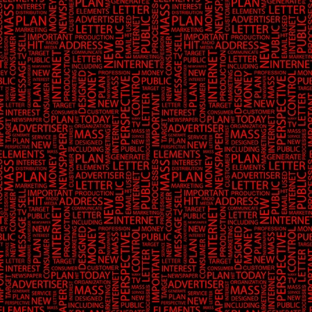 branded product: ADVERTISING. Seamless vector pattern with word cloud. Illustration with different association terms.