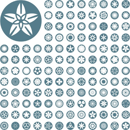 simple flower: Collection of flowers for design. Vector great collection.